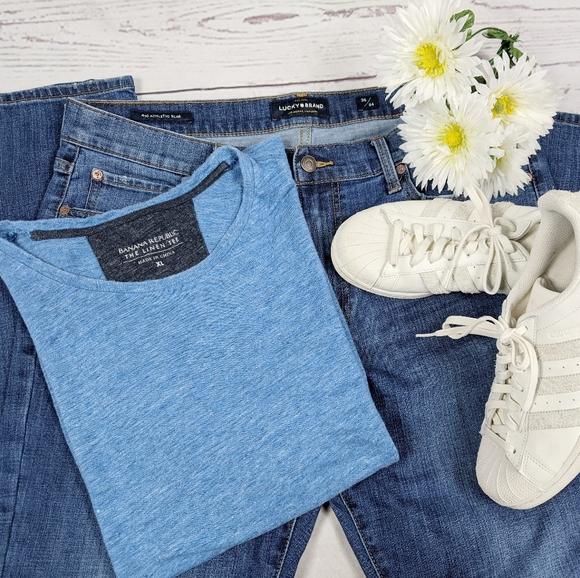 Banana Republic Blue Linen T-shirt Size XL